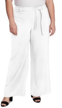 Vince Camuto Plus Size Twill Wide-Leg Pants