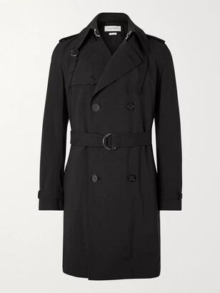 Alexander McQueen Double-Breasted Gabardine Trench Coat - Men - Black