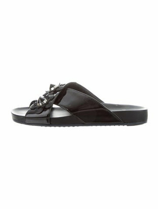 Fendi Flowerland Patent Leather Slides Black