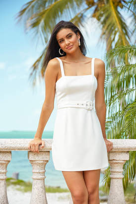 French Connection Whisper Belted Square Neck Dress White 2