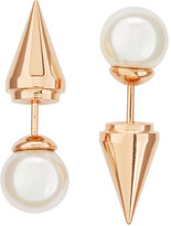 Majorica Rose Golden Pearl Spike Front-Back Stud Earrings