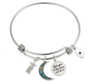 """Unwritten Fine Silver Plated Abalone and Crystal """"I Love You to the Moon & Back"""" Bangle Bracelet"""