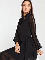 Very Lace Trim Soft Woven Midi Dress - Black