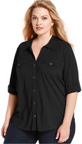 Style&Co. Style & Co Plus Size Utility Shirt, Only at Macy's