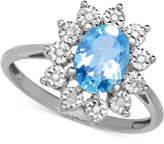 Macy's Blue Topaz (1-3/8 ct. t.w.) and Diamond Accent Ring in 14k White Gold