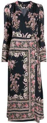 Etro Floral Paisley-Print Wraparound Midi Dress