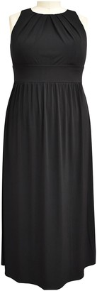 London Times Solid Pleated Neck Sleeveless Maxi Dress (Plus Size)