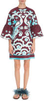 Valentino 3/4-Sleeve Fenice Print Cady Dress