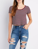 Charlotte Russe Striped & Ribbed Scoop Neck Crop Top
