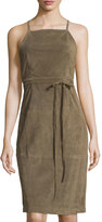 Theory Lilita Suede Cross-Back Dress, Olive Green