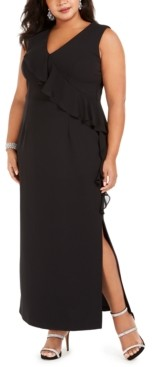 Connected Plus Size V-Neck Ruffle Dress