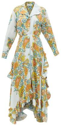 Lanvin Paisley-print Crepe And Silk-satin Dress - Blue Print