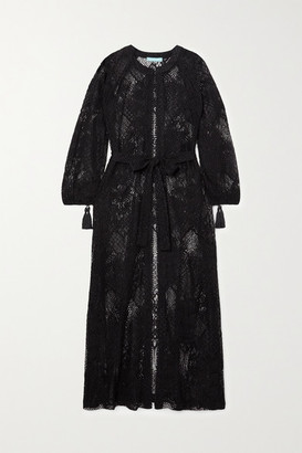 Melissa Odabash Yasmin Belted Tasseled Corded Lace Kaftan - Black