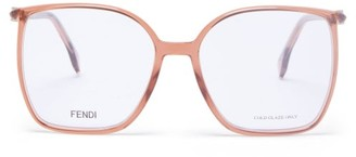 Fendi Ff-logo Oversized Square Acetate Glasses - Light Pink