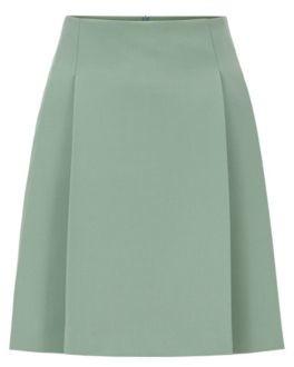 HUGO BOSS Mini Skirt In Portuguese Stretch Twill With Pleats - Light Green