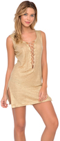 Luli Fama Spirit Of A Fairy Lace Up Mini Dress in Gold (L483952)