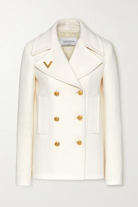 Valentino Embellished Double-breasted Wool Coat - Ivory