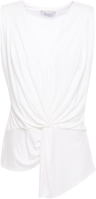 Bailey 44 Amber Asymmetric Twist-front Pleated Jersey Top