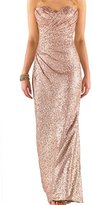 Cdress Sleeveless Strapless Sequins Prom Dresses Bridesmaid Party Gowns US