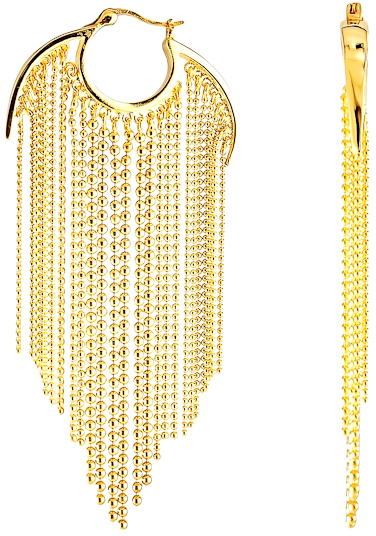 Agrigento Designs Bead Fringe Hoop Earrings