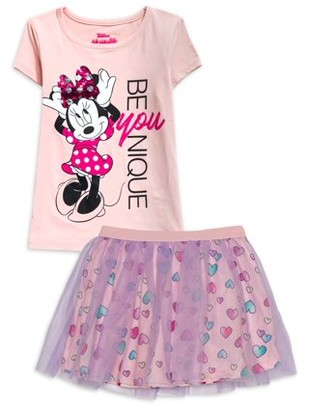 Minnie Mouse Girls Be Unique Graphic Tee and Tutu Skirt, 2-Piece Outfit Set, Sizes 4 -6x