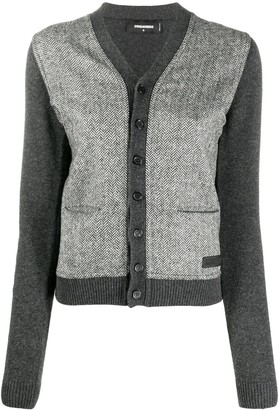 DSQUARED2 Two-Tone Button-Up Cardigan