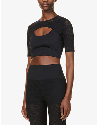 Good American Midnight mesh-overlay stretch-woven top