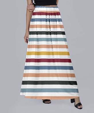 Beyond This Plane Women's Maxi Skirts WHT - White & Orange Stripe Maxi Skirt - Women & Plus