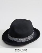 Reclaimed Vintage Fedora Hat Bandana Detail