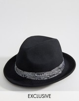 Reclaimed Vintage Inspired Fedora Hat Bandana Detail
