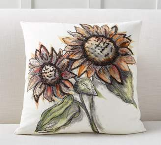 Pottery Barn Bold Sunflower Embroidered Pillow Cover