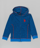 U.S. Polo Assn. Blue & Red Piping Zip-Up Hoodie - Boys