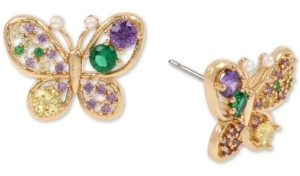 Betsey Johnson Gold-Tone Multicolor Crystal Butterfly Stud Earrings