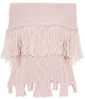 Philosophy di Lorenzo Serafini Off-the-shoulder Ribbed And Cable-knit Alpaca-blend Sweater