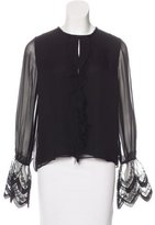Alexis Silk Lace-Accented Blouse