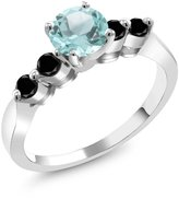 Gem Stone King 1.45 Ct Round Sky Blue Topaz Black Diamond 14K White Gold Engagement Ring