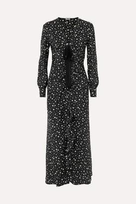 Miu Miu Ruffled Gathered Printed Silk Midi Dress - Black