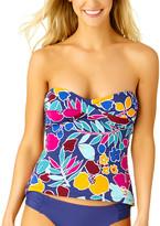 Cole of California Women's Tankini Tops NVCO - Blue & Pink Twist-Front Shirred Strapless Tankini - Women