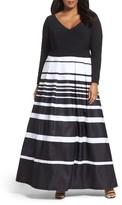 Xscape Evenings Plus Size Women's Stripe Skirt Ballgown