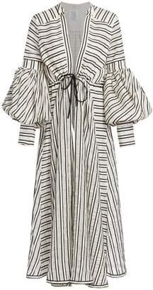 Rosie Assoulin Lantern Sleeve Striped Wool & Silk Maxi Dress