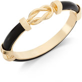 Charter Club Gold-Tone Jet Black Faux-Leather Knot Hinged Bangle Bracelet, Only at Macy's