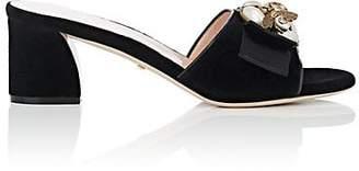 Gucci Women's Embellished Velvet Mules - Black