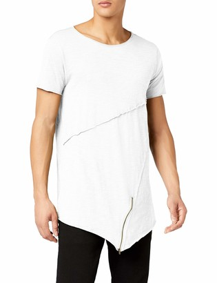 Urban Classics Men's Long Open Edge Front Zip Tee T-Shirt