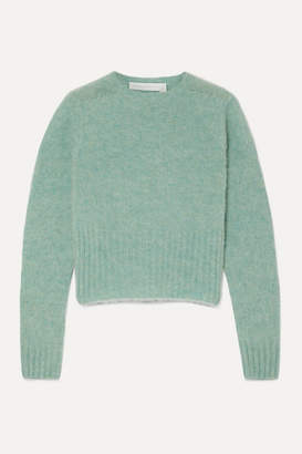 Victoria Beckham Cropped Melange Wool Sweater - Mint