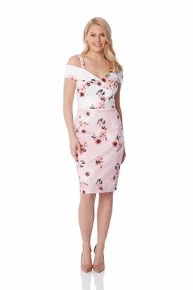 Roman Originals Women Floral Cold Shoudler Scuba Dress - Ladies Evening Party Special Occasion Wedding Guest Race Day Sweetheart Neckline Light Races Knee Length Dress - Light Pink - Size 14