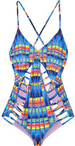 Mara Hoffman Cutout Printed Swimsuit - Azure