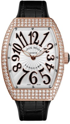 Franck Muller Vanguard Rose Gold, Diamond, Alligator & Rubber Strap Watch