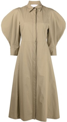 Erika Cavallini Puff-Sleeve Shirt Dress