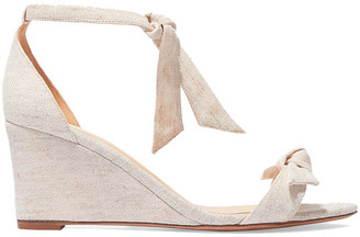 Alexandre Birman Clarita Bow-embellished Linen-canvas Wedge Sandals