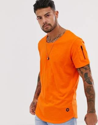 Jack and Jones Core curved hem scoop neck t-shirt in orange